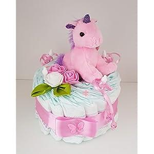Windeltorte rosa, Geschenk zum Geburt, Taufe, Babyparty Mädchen, Einhorn, Windeln Pampers Gr.3