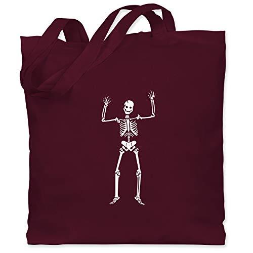 Knochen Farbe Kostüm Kleinkind - Shirtracer Halloween - Skelett Skeleton - Unisize - Bordeauxrot - WM101 - Stoffbeutel aus Baumwolle Jutebeutel lange Henkel