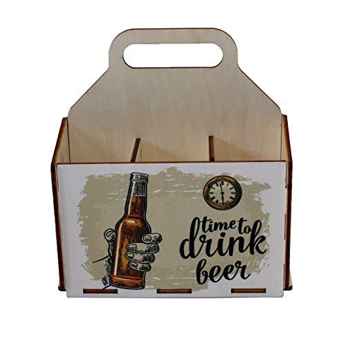 41rqeNKG15L - Bierträger aus Holz - Sixpack - 6er Träger - Sechserträger - Geschenk Männer, Bier, Grillzubehör, Geburtstagsgeschenk für Männer, Grillparty, Bier-Geschenk