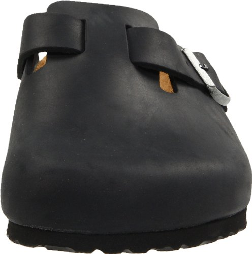 Birkenstock Boston, Unisex - Erwachsene Clogs & Pantoletten aus Nubukleder Black Oiled Leather