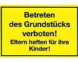 Gebotsschild gelb 'Betreten des Grundstücks verboten/Eltern haften für Kinder' / Format: 300 x 200 mm