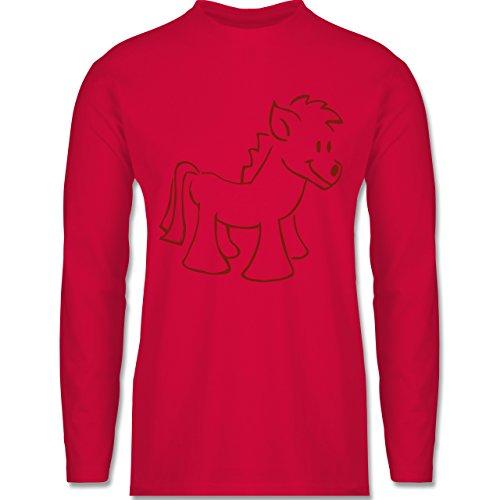 Pferde - Pony - Longsleeve / langärmeliges T-Shirt für Herren Rot
