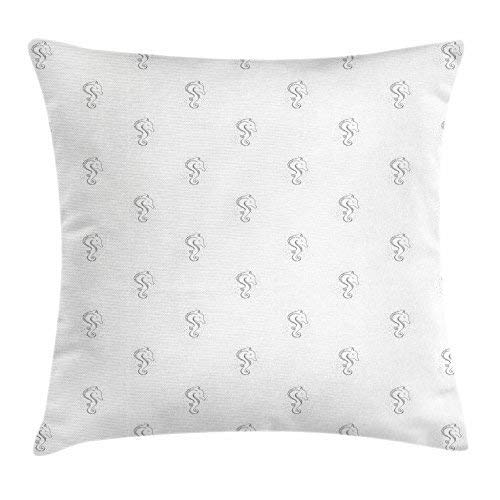 pigyear888 Sea Horse Throw Pillow Cushion Cover, Cute Marine Animal in Hand Drawn Style with Little Dots Fantasy Creature Art, Decorative Square Accent Pillow Case, 18 X 18 Inches, Black White