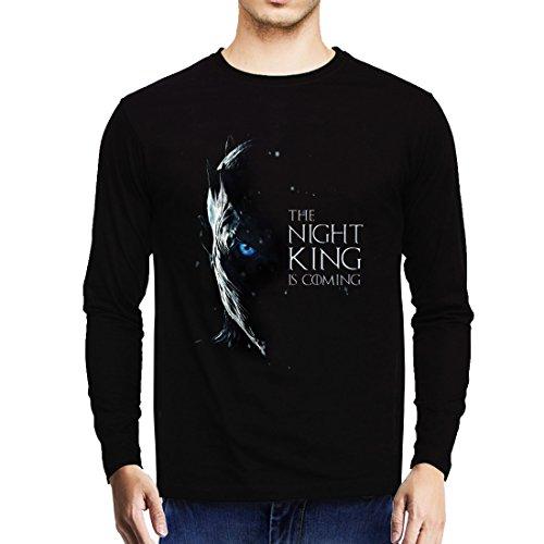 GeekDawn Men\'s Round Neck Game Of Thrones Full Sleeve T-Shirt(Night King White Walker), Black