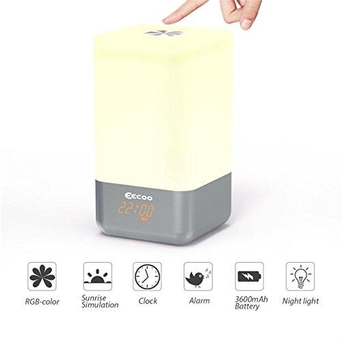 Luce con sveglia, EECOO Lampada da Comodino con Sveglia 5 Suoni Naturali Controllo del Sensore Touch 3 varietà di Luce Bianco Naturale Colore RGB Variabile per Lampada da Arredamento e Luce Notturna
