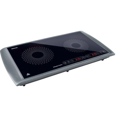Sencor SCP 5303GY - Piastra di cottura a induzione doppia zona, 2900 W, diametro da 145 e 167 mm,...