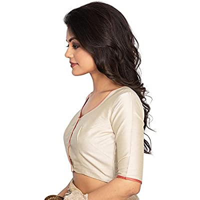 Beige Cotton Silk Floral Embroidered Blouse