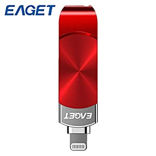 Awhao EAGET OTG USB Flash Drive for iPhone X 8 7 Plus USB 3.0 Pen Drive 64GB/128G Pendrive Flash Disk MFI USB Stick for iPad Laptop PC (128G, Black)