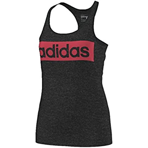 Adidas Ess Linear Tank, Maglietta senza Maniche Woman (Football), Nero (Blckme/Alegrí), M