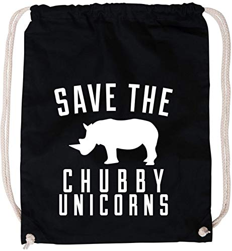 AngryShirts Save the chubby Unicorn Baumwoll Stoffbeutel