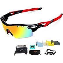 Unisex Cilindro de gafas de sol Gafas, protección UV, cristales de recambio 3Incluye Negra polarizadas lente, para las actividades de exterior como Ciclismo Correr Escalada etc. negras y rojas a elegir, Schwarz&Rot (5 Wechselgläser)