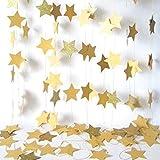 TXYFYP Stelle Appeso Ghirlanda 4M Frizzante Stelle Ghirlanda Bandierine per Matrimonio Compleanno Festa Decorazioni (4 Mblue) - Dorato, 4 m