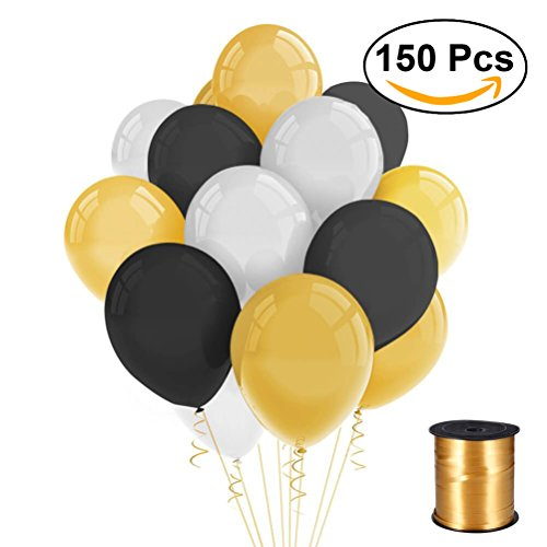 de Latex Ballons mit Gold Curling Ribbon für Party Dekoration 150pcs (Gold + Schwarz + Weiß) (Schwarz Und Weiß Halloween-party-dekorationen)