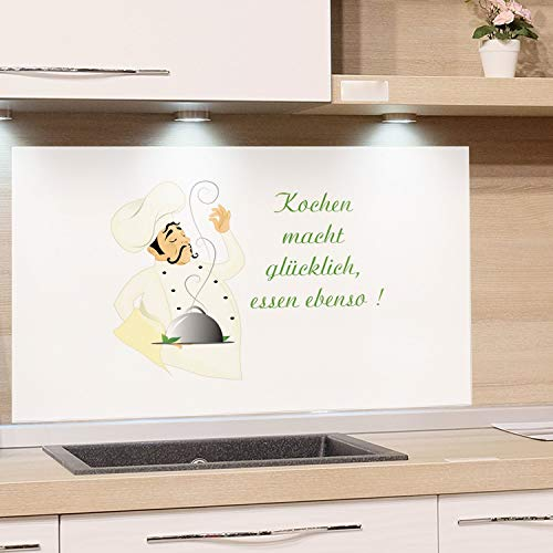 GRAZDesign Küchenrückwand Glasbild Spritzschutz Küche - Edler Kunstdruck hinter Glas Bild Motiv Koch mit Spruch Glasplatte Küchenzeilen abdecken / 60x60cm