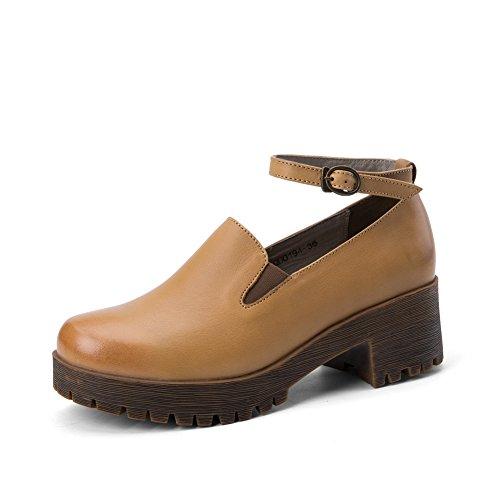 chaussures féminines au printemps et en automne/Chaussures semelle épaisse plate-forme d'Angleterre A