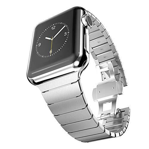 JIANGJIE Apple Watch Strap Band Edelstahl Ersatz Für Verschluss Für Iwatch Serie 1, Serie 2, Serie 3, Serie 4,38Mm / 42Mm / 40Mm / 44Mm,Silver,42MM