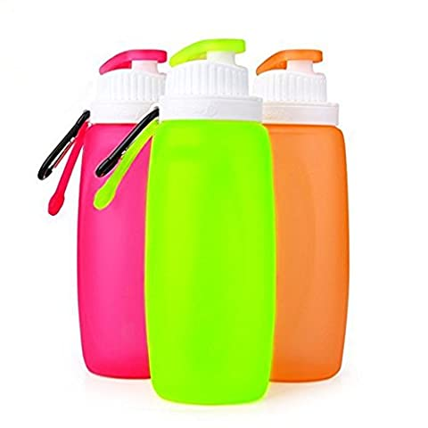 Water Bottle 320/500/750 ml Collapsible Silicone Gel Water Bottle BPA Free FDA Approved Foldable Leak Proof Sports Bottle (320ml, red, 320ml)
