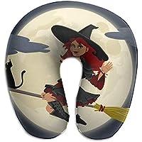 Voxpkrs Memory Foam Neck Pillow Halloween Witch U-Shape Travel Pillow Ergonomic Contoured Design Washable Cover