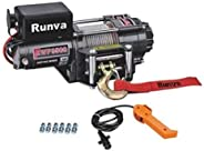Runva 12V DC Electric Winch with Mounting Plate, Handheld Remote, Roller Fair lead for Jeeps, Suvs, Atvs 3500