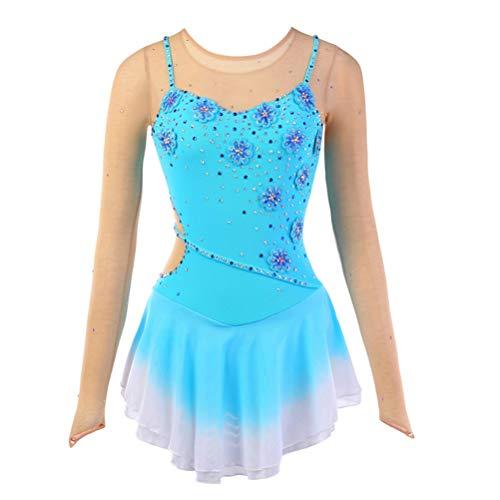 leid für Kinder Lange Ärmel Schön Wettbewerb/Performance Skating Kleid für Mädchen Blauer See Strass Gymnastik Turnanzug Kleid, 10 ()