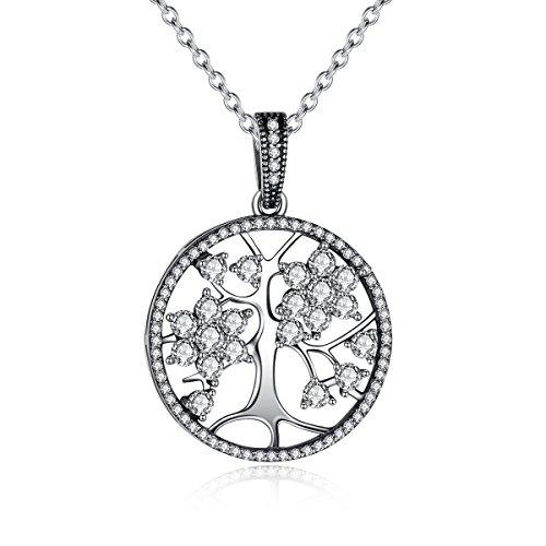 925 Sterling Silber Baum des Lebens mit Swarovski Element Kristalle Anh?nger Halsketten f¨¹r Frauen