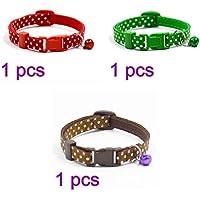 ueetek 3pcs lunares Bell nailon ajustable para mascota perro cachorro gato cuello con Fancy gato