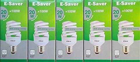 Pack of 5, E-Saver CFL Full Spiral,