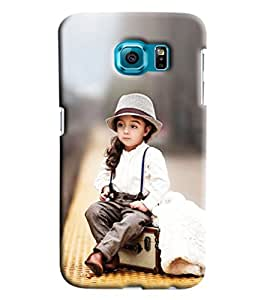 Blue Throat Cute Girl Sitting On Radio Hard Plastic Printed Back Cover/Case For Samsung Galaxy S7