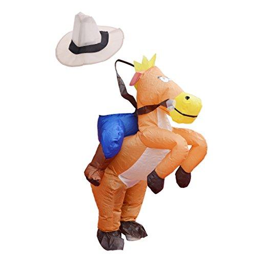 D DOLITY Kinderkostüm Aufblasbares Kostüm Luft Anzug Fatsuit, Pferde Reiter Aussehen, mit Batteriefach und Fan, für Weihnachten Halloween und Fasching