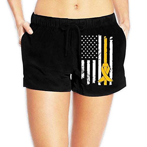 Hwgss Childhood Cancer Awareness USA Flag-1 Women's Printing Beach Board Shorts Casual Classic Swim Trunks with Pockets(L) -