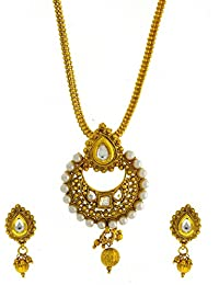 Anuradha Art Gold Tone Styled With White Colour Stones Traditional Pendant Set For Women/Girls