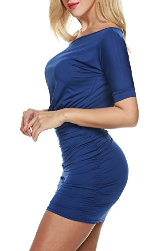 ZEARO Novelle Style Femme Sexy Robe Mini De Soirée / Cocktail / Clubwear Ultra Courte Manche Chauve-souris 1/2 Une Epaule Bleu