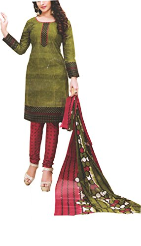 Nashira Women'S Cotton Unstitched Dark Green and Orange Combination Casual Daily Wear...