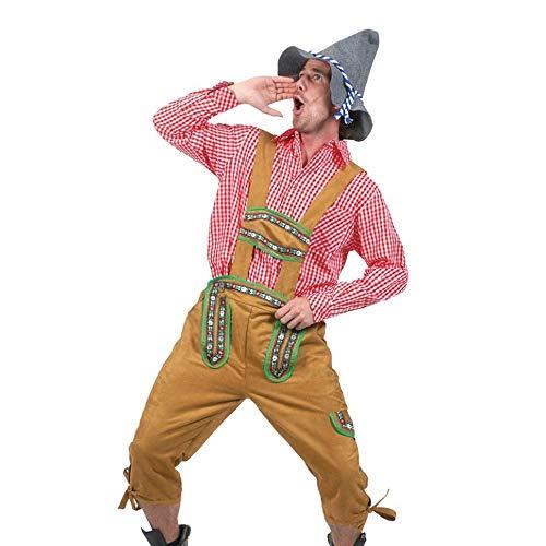 Shujin Herren 3 Teilig Trachtenset Lederhose mit Träger Kniebund Bayrische Stickerei Trachtenlederhose und Trachtenhemd Rot Weiß Kariert und Trachtenhut zur Party Oktoberfest Freizeit