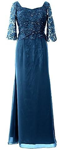 Macloth Femme Demi manches Robe de mère de la mariée longue Robe de soirée - bleu - 48
