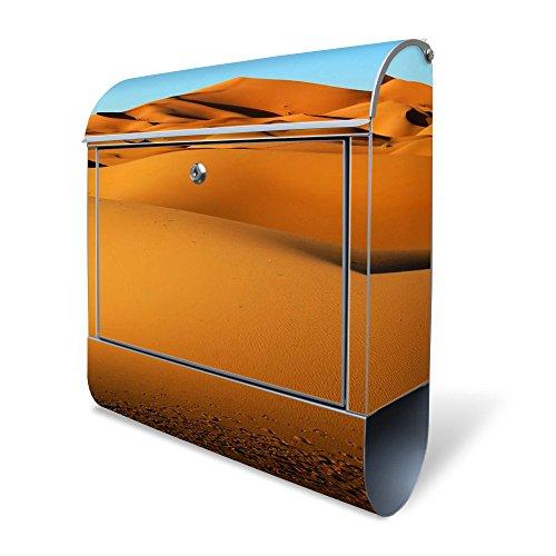 BANJADO Design Briefkasten mit Zeitungsfach, 2 Schlüssel, A4 Einwurf, silber pulverbeschichtet, mit Motiv Wüste