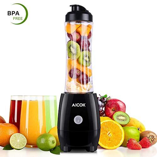 Aicok Mini Blender, Smoothie Blender avec 600ml Bouteille Tritan, Sans BPA, Smoothie Mixeur 4 Lames en Acier Inoxydable, 300W, pour Préparer des Smoothies, des Shakes
