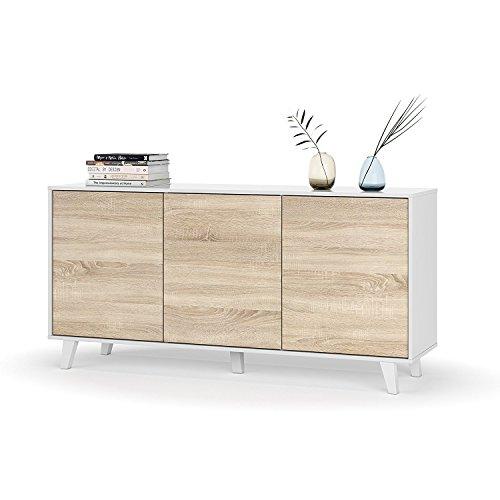 Mobelcenter - Aparador buffet salón comedor 3 puertas - Color Blanco Brillo y Roble Canadian - Medidas: 154 cm x 75 cm x 41 cm (0737)