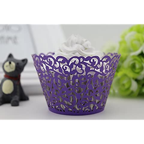 Finex® 100pcs *Flower* Wedding Cupcake Liner Wrappers Muffin Wrapper Paper Baking Party Decoration (Purple) by FINEX