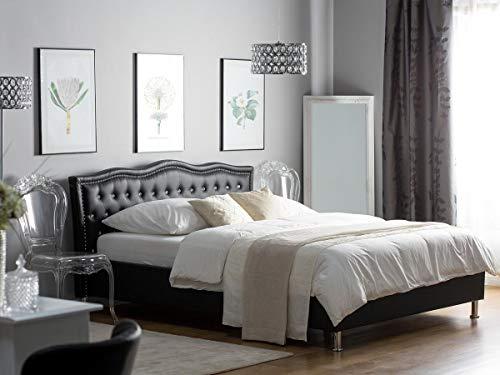 supply24 Designer Barock Leder Bett Unicorn Einhorn SCHWARZ mit Lattenrahmen Lattenrost mit Bettkasten Stauraum Polsterbett traumhaftes Lederbett modern Jugendbett günstig (140x200 cm) -