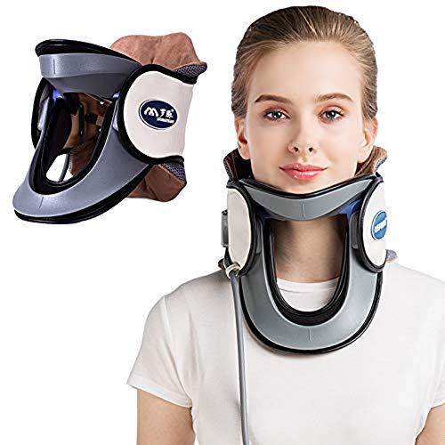 QJXF Medizinische Hals-Halswirbel-Zugvorrichtung, Schutz-aufblasbarer Halsbahre-Kragen mit Pumpe, vollkommener Sitz der Hals- jederzeit und überall, um Nackenschmerzen zu entlasten,White -