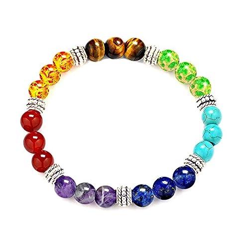 Stillshine - Chakra Yoga Équilibrant des perles de pierre rondes Chaîne de perles naturelles élastiques, Charm Men Women Gift Box (Style 8)