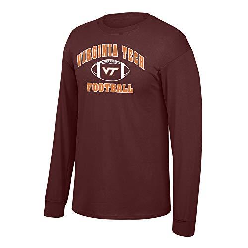 eLITe Fan Shop NCAA Fußball-T-Shirt, langärmelig, Teamfarben, Herren, NCAA Football Long Sleeve T-Shirt Team Color, Virginia Tech Hokies Maroon, X-Large Virginia Tech Hokies Football
