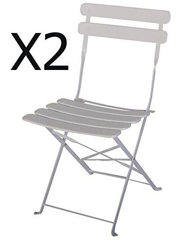 PEGANE Chaise de Jardin en Acier époxy Coloris Blanc - Dim : 42 X 46 X 80 cm