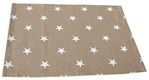 beties Sternchen Platzset ca. 35x45 cm in interessanter Größenauswahl 100% Baumwolle hochwertig & angenehm Farbe Taupe (Terrasse Tisch Ring)