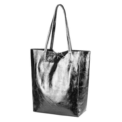 OBC Made in Italy DAMEN LEDER TASACHE DIN-A4 Shopper Schultertasche Henkeltasche Tote Bag Metallic Handtasche Umhängetasche Beuteltasche (Schwarz 36x40x12 cm) Grau-Metallic