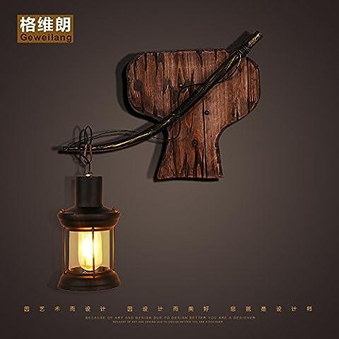 LLHZ-American retro decorar ideas difusas Linterna café salón dormitorio cabecero de madera maciza de arte lámpara de pared