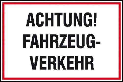 4231. Hinweisschild zur Baustellenkennzeichnung Achtung! Fahrzeug-Verkehr Aluminium geprägt Größe 60,00 cm x 40,00 cm