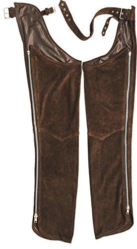"""Preisvergleich Produktbild Chaps Leder Herren Lederchaps Fransenhose Lederhose Lederjeans Chaps """"Fuente"""" Chapshose Damen Herren Cowboy Indianer Western Reit Braun (S, Braun)"""