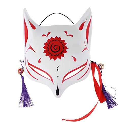 Maske Fuchs Kostüm - dPois Erwachsene Japanische Fuchs Halbmaske Gesichtsmaske mit Quasten und Glöckchen Cosplay Kostüm Maske für Masquerades Party Karneval Rot One Size